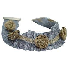 Woven Mesh Bracelet Roses Flowers 14KYG Gold Italy