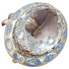 Rock Crystal Enamel Brooch Antique