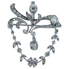 Antique Diamond Brooch Pin Pendant Rose cut Old mine cut 14KWG