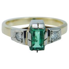 Emerald Diamond Ring 18KYG Russian USSR Soviet Union
