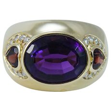 H Stern Amethyst Garnet Diamond Band Ring 18KYG