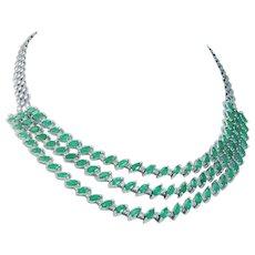 Emerald Diamond Three rows Necklace Choker Gold