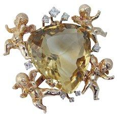 Cherubs Angels Diamond Huge Brooch with Quartz Heart 14KYG