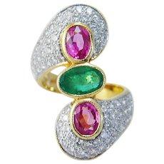 Pink Sapphire Emerald Diamond Ring 18K Yellow Gold
