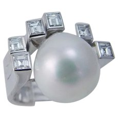 South Sea Pearl 1.80cts Square Diamond Cocktail Ring 18K White Gold