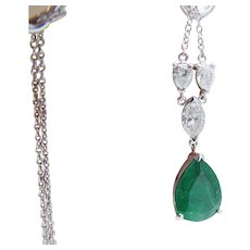 Emerald Diamond Pendant Necklace Natural Gemstones 14K White Gold