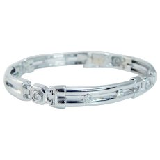 "Diamond Men's Bracelet 47.9gr 8.5"" Long 14K White Gold"
