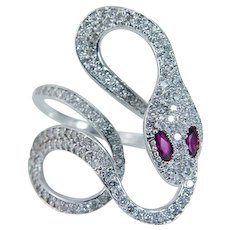 Snake Ring Ruby Diamond  18K White Gold made in Italy
