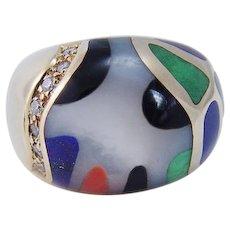 Asch Grossbardt Inlaid Gemstones Diamonds Domed Ring 14KYG