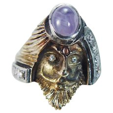 Vintage Mythology Face of Man Ring Ancient God Deity Gold Rare
