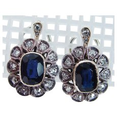 Vintage Diamond Sapphire Earrings, 18K Gold & Sterling Silver