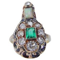 c.1820s Antique Diamond Opal Ring Old Mine Georgian Colombian Emerald
