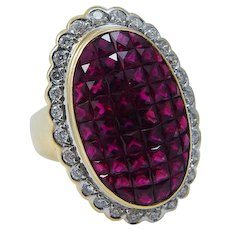 French cut Ruby Diamond Ring Pigeon Blood  18K Yellow Gold