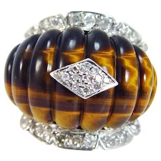 Fluted Tiger's Eye Diamond Ring Huge Cocktail Art Deco Retro Mid-Century