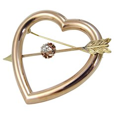 Old European Mine Cut Diamond Heart Arrow Pin Brooch 14K Rose Yellow Gold