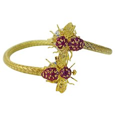 Ruby Enamel Woven Bangle Bracelet Fly Bee 14K Yellow Gold Flexible