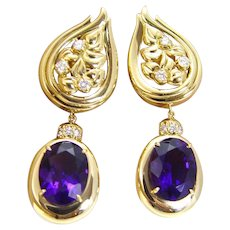 Sam Lehr Amethyst Diamonds Dangle Earrings Hallmarked 18K Yellow Gold