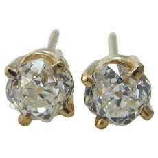 Diamond Old Mine cut Studs Earrings  1.10ctts 14K Gold