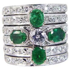 Emerald Diamond Ring 14K Gold Wide Band