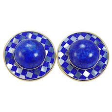 Lapis Mother of Pearl MOP Earrings Huge P.B.D. Peter Brams 14K Gold