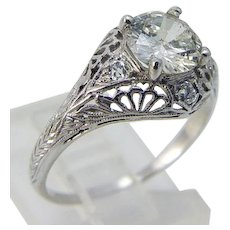 Art Deco Diamond Ring 1.25ct Engagement 18K Gold