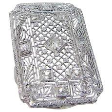 Platinum Old Mine cut Diamond Ring Huge Filigree
