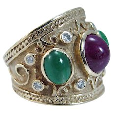 Etruscan Ring Band Ruby Emerald Diamond 14K Yellow Gold