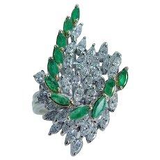 Diamond Emerald Cocktail Ring  14KWG