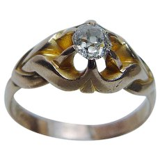 1900s Diamond Ring Mine cut .50ct Antique 14K Gold