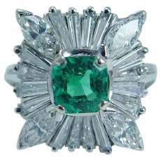 Colombian Emerald Marquise Tapered Diamond Ring 14K White Gold FREE Shipping