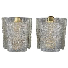 Two J.T.Kalmar Wall lamps around 1950s with texured glass.