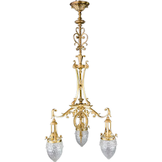 Historistic Chandelier Gilded with Original Glasses, circa 1890s