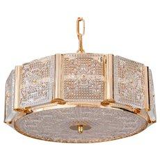 Carl Fagerlund for Orrefors, gilded brass, chandelier