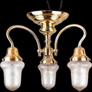 Jugendstil ceiling lamp around 1908 with original glass shades