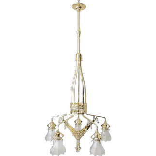 Amazing Jugendstil Chandelier with Original Glass, around 1906