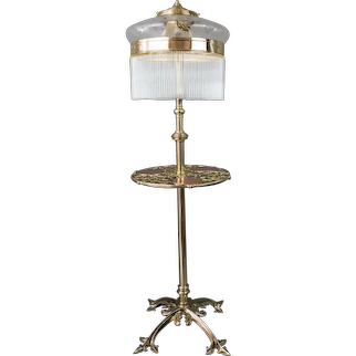 Adjustable Jugendstil Floor Lamp with Original Antique Glass Shade, circa 1908