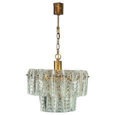 Brass and Crystal Glass Chandelier by Palwa, Germany, 1960s