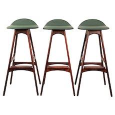 Rosewood bar stools OD 61 by Erik Buch for Oddense Maskinsnedkeri, 1960s.