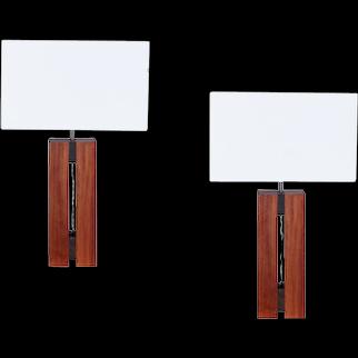 Pair of 1930's Cubist table lamps in mahogany & ebony Macassar