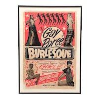 """1940's Striptease """"Gay Paree"""" burlesque poster"""