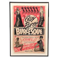 "1940's Striptease ""Gay Paree"" burlesque poster"