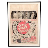 "1940's Striptease ""HOLD UP"" burlesque poster."
