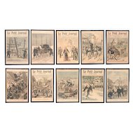 "Set of 10 framed  ""Le Petit Journal"" covers, ca. 1900"