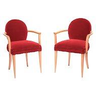 1940's pair of Bridge armchairs in fruitwood