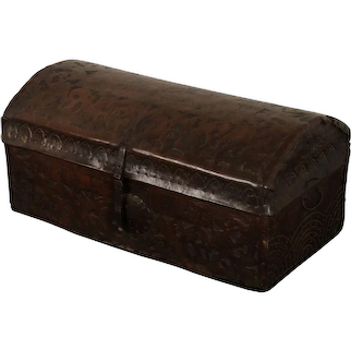 Leather covered domed chest, Spain, circa 1700