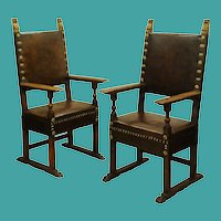 Pair walnut leather upholstered throne chairs, Italy circa 1660