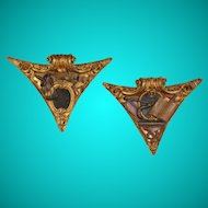 Pair of 18th century corner bosses with Masonic emblems