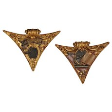 Pair of 18th century corner bosses with Masonic emblems