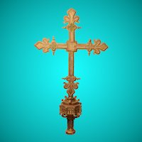 Giltwood and polychrome decorated processional cross, Spain, circa 1500