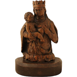 16th century walnut carving of the Madonna and Child